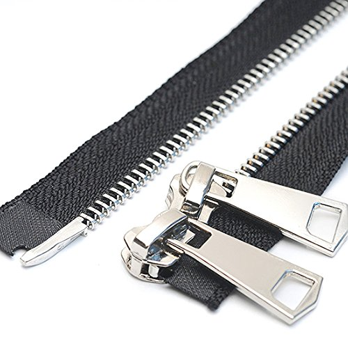 26 Anti-Silver YaHoGa 2PCS #5 26 Inch Antique Silver Separating Jacket Zipper Y-Teeth Gunmetal Metal Zippers for Jackets Sewing Coats Crafts