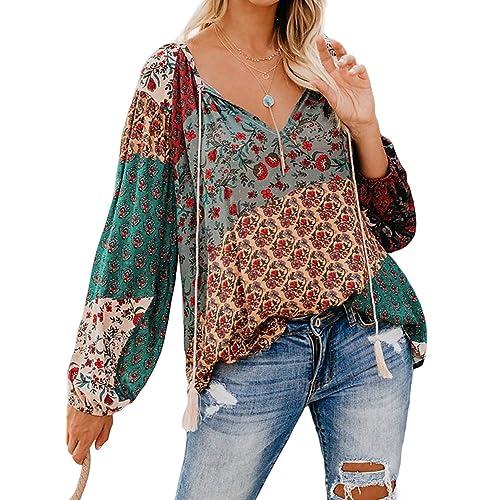 VEFSU Women Casual Floral Print Blouse Stripe Short Sleeve Shirt Round Neck Tops