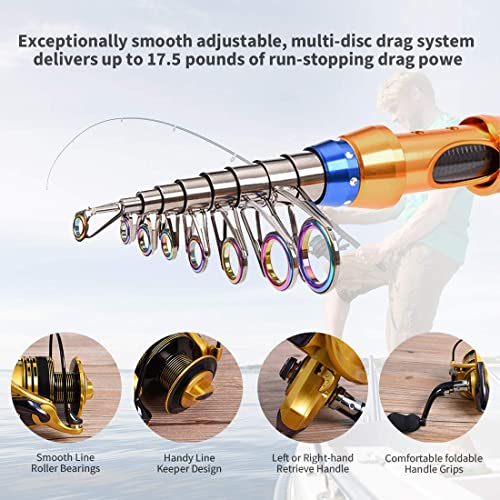CLORIS Fishing Rod and Reel Combo Saltwater Freshwater-12 FT Carbon Fiber Telescopic Fishing Pole and Reel Combo with Line Lures Tackle Hooks Carrier Bag for Adults Young Kids MenTravel /…