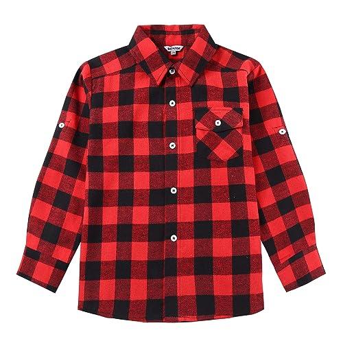 Bienzoe Boys Warm Flannel Button Down Long Sleeve Plaid Shirt