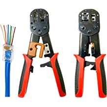 20 Pieces Cat5 Cat6 Pass Through Connectors and 1 Piece Mini Wire Stripper